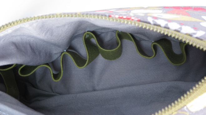 Inside of bag with elastic addition